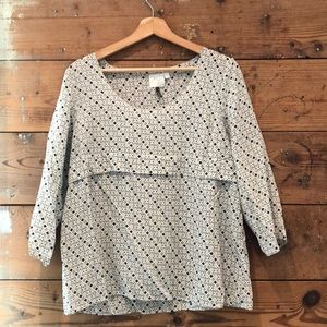 Silk Anthropologie white and navy printed blouse